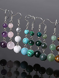 Beadia 1 Pair Fashion Drop Earrings 6/8/10mm Natural Stone Dangle Earrings For Women