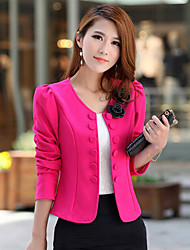 AiShi Women's Solid Color Pink  / Black Coats & Jackets , Vintage / Sexy / Casual / Work Round Long Sleeve plus size