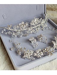 The Bride Headdress Three-Piece Necklace High-end Luxury  Handmade Wedding Jewelry Set in Platinum Color