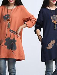 Vestidos ( Lino )- Casual / Impresión Redondo Manga Larga para Mujer