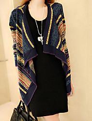 CEN     Women's Striped Multi-color Coats & Jackets , Casual Asymmetrical Long Sleeve