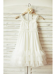 Sheath / Column Knee-length Flower Girl Dress - Tulle Sleeveless Straps with
