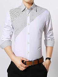 Men's Print Casual / Work / Formal Shirt,Cotton Long Sleeve Black / Blue / Green / Pink / Red / White