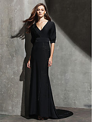 TS Couture Formal Evening Black Tie Gala Dress - Celebrity Style Sheath / Column V-neck Sweep / Brush Train Knit with Pleats