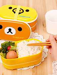 Double-Layer Lunch Box Set Microwave Bento Box Multilayer Partitioned Food Container (Random Color)