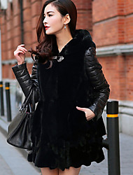 Women's Plus Size / Party/Cocktail Sexy / Simple Fur Coat,Solid / Color Block Hooded Long Sleeve Fall /