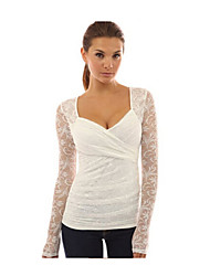 Women's Casual/Daily Simple Fall T-shirt,Patchwork Round Neck Long Sleeve White Cotton Medium