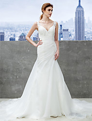 Lanting Bride® Trumpet / Mermaid Wedding Dress Chapel Train Sweetheart Organza with Appliques