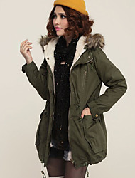 Women's Solid Green Long Padded Padded Coat , Casual Long Sleeve Cotton Blends