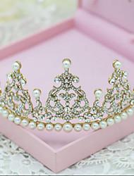 Chapel Golden Romantic Rhinestones Wedding/Party Headpieces/Tiaras with Imitation Pearls