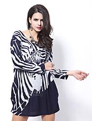 Women's Autumn Winter New Arrival Fashion  Long Sleeve Loose Zebra Pattern Printing Plus Size Dress
