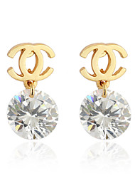 Ya Ge Women's Fashion Elegant 18 k Gold Plated Zircon Inlaid Stud Earrings