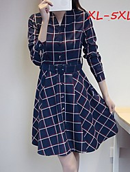 Women's Plaid Blue Plus Size Dresses , Casual/Work Shirt Collar Long Sleeve