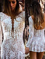 Women's Lace White Dress , Sexy / Lace Deep V Long Sleeve