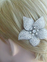 Bridal Hair Jewelry Wedding Hair Comb Silver-tone Rhinestone Crystal Orchid Flower Hair Comb Bridal Hair Comb