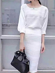 Women's Striped White / Yellow / Gray Set , Round Neck Long Sleeve
