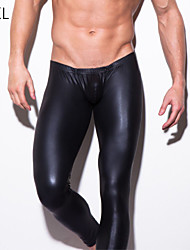 Men's Leather Black Tight Long Johns