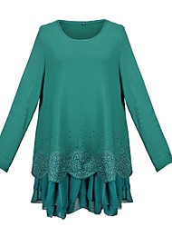 Women's Print Green Dress , Print Round Neck Long Sleeve