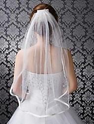 Bridal Wedding White Ivory Veil One-tier Elbow Veils Ribbon Edge Elbow Length Satin Edge With Comb