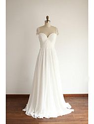 A-line Wedding Dress Floor-length Sweetheart Chiffon with Pearl / Side-Draped