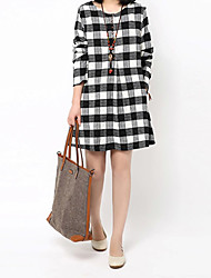 Large size   Women's Check White Dresses , Casual Round Long Sleeve