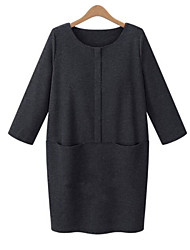M.Dama Women's Solid Color Black / Gray Dresses , Plus size/Vintage / Sexy / Party / Work Round Long Sleeve