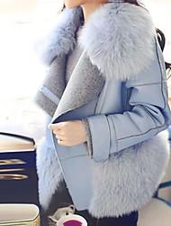 Women's Solid Blue Coat , Casual/Plus Sizes Long Sleeve Wool/Others Zipper