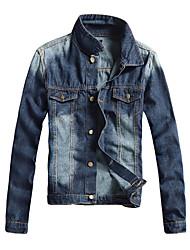 Autumn leisure slim type cotton denim Lapel youth bumbu hem denim jacket