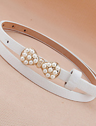 Korean Fashione Legant and Refined Pearl Bow Thin Belt Female Wild Thin Belt