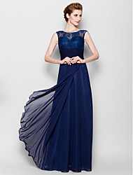 Sheath/Column Plus Sizes / Petite Mother of the Bride Dress - Dark Navy Floor-length Sleeveless Chiffon / Lace