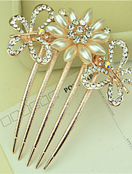 South Korea High-Grade Ornaments in Combs Hair Clasp Diamond Pearl Twist  The Two Butterflies