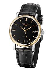 homens guanqin auto-liquidação relógio calendário 100m impermeável aço cristal de safira e 38,5 milímetros de couro relógio automático