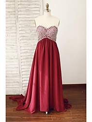 Formal Evening Dress - Burgundy A-line Sweetheart Court Train Chiffon