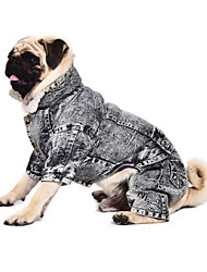 Cat Dog Coat Clothes/Jumpsuit Gray Dog Clothes Winter Jeans Keep Warm