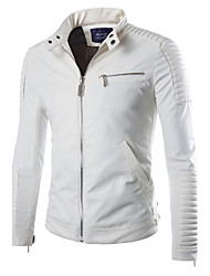 Men's Casual Solid  PU / Faux Leather Jacket / Outerwear , Long Sleeve Spring / Fall Men's Fashion Faux Leather Outerwear