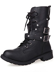 Women's Shoes Leatherette Chunky Heel Platform/Riding Boots/Fashion Boots/Motorcycle Boots/Round Toe BootsOutdoor