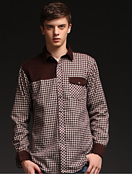 U&Shark Men's 100% Cotton Sanded Soft Business Long Sleeve Shirt with Stitching Dark-White Checks/MMPG07