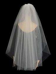 Wedding Veil Two-tier Blusher Veils / Fingertip Veils Cut Edge