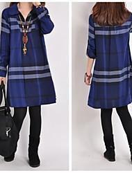 Women's Plaid Blue Plus Size Dresses , Casual Shirt Collar Long Sleeve