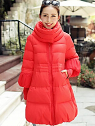 Women's Solid Red/White/Black Parka Coat