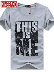 Herren T-shirt-Einfarbig Freizeit / Büro / Sport Baumwolle / Baumwollmischung Kurz-Rot / Weiß / Grau