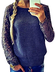 Women's Lace Blue / Pink Sweaters , Casual / Lace Round Long Sleeve