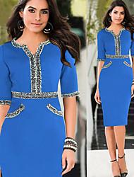 темперамент v-образным вырезом среднего рукавом платье пункт женщин