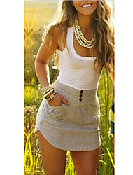 SEXY Women's Print / Color Block White Dresses , Vintage / Sexy / Casual / Work Round Sleeveless