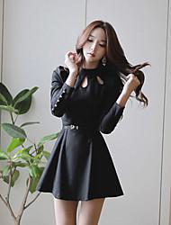 Mulheres Vestido Mini Manga Longa Colarinho Chinês Mulheres