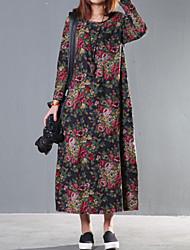 Women's Floral /Red/Navy Blue Dress , Casual/Print/Maxi/Plus Sizes Fashion Ethnic Print Long Sleeve (Linen/Cotton)