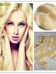 3 stuks / veel brazilian blonde lichaam golf haarverlenging # 613 blonde maagd menselijk haar weave onbewerkt brazilian hair
