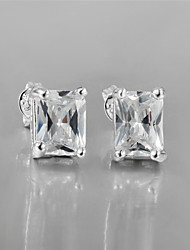 Earring Stud Earrings Jewelry Women Brass / Silver Plated 2pcs Silver