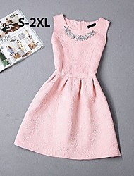 Women's Vintage Beaded Collar Sleeveless Jacquard Skater Plus Size Dress