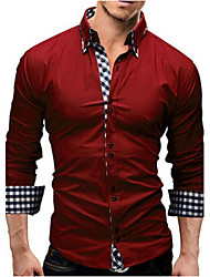 Men's Casual/Daily Simple Spring Fall Shirt,Solid Plaid Long Sleeves Polyester